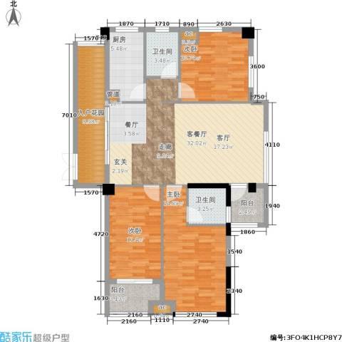 优山美地3室1厅2卫1厨110.00㎡户型图
