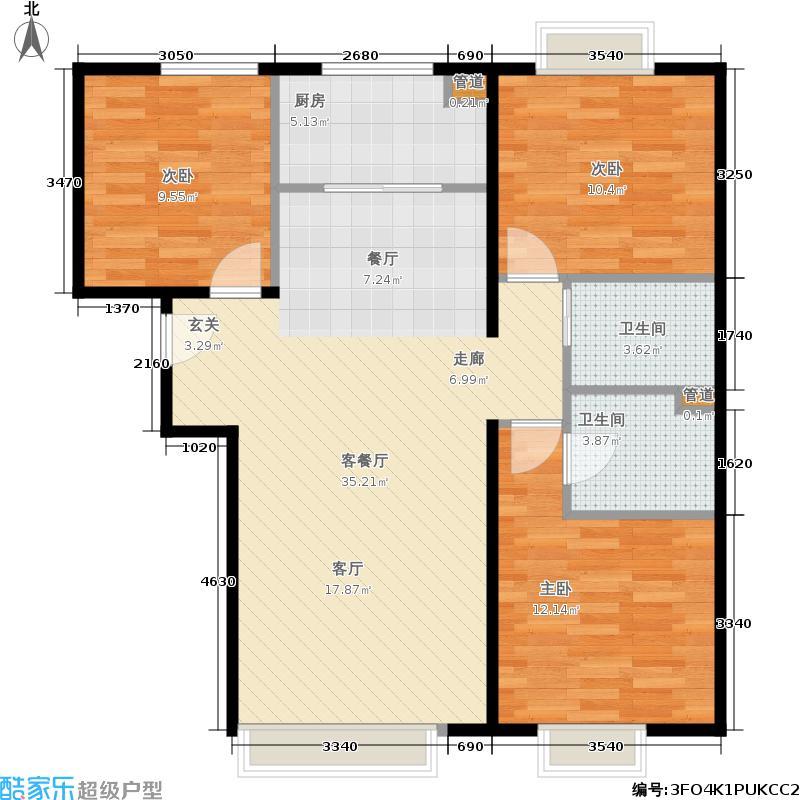 中国铁建国际城118.00㎡中国铁建·国际城11号楼3-8户型3室2厅