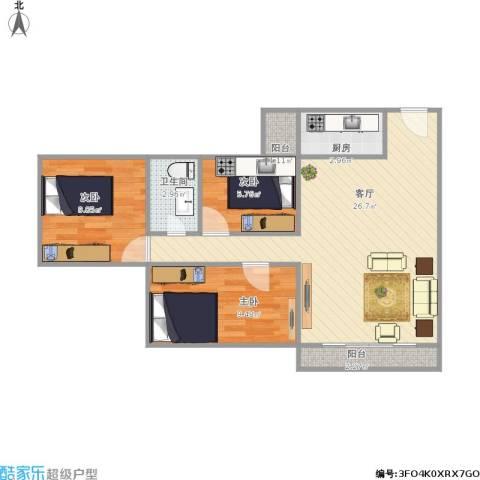 梅花豪庭3室1厅1卫1厨82.00㎡户型图