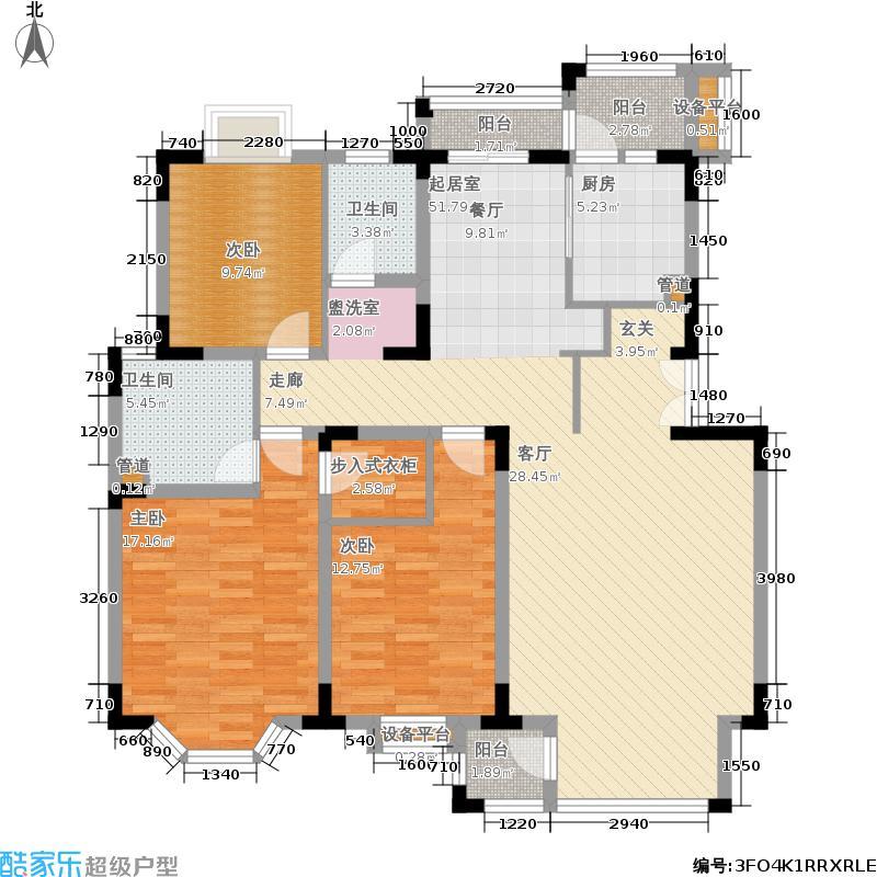 北京奥林匹克花园125.00㎡D1户型3室2厅