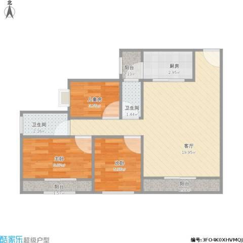 曦圆观南山3室1厅2卫1厨65.00㎡户型图