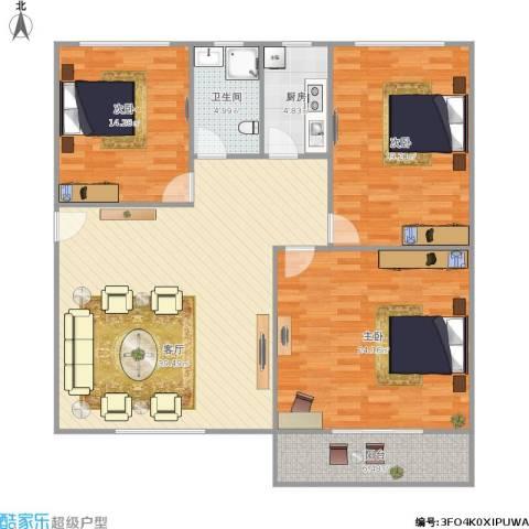 新莲岳里3室1厅1卫1厨150.00㎡户型图