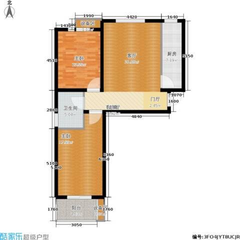 枫林花溪2室1厅1卫1厨91.00㎡户型图