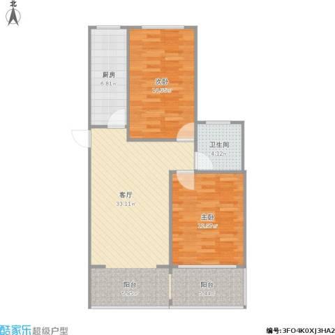 苏宁馨瑰园2室1厅1卫1厨95.00㎡户型图