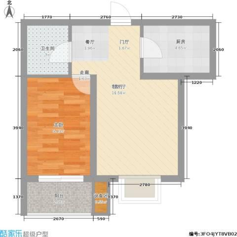枫林花溪1室1厅1卫1厨64.00㎡户型图