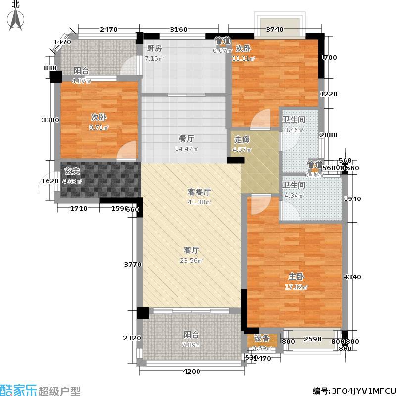 碧桂园城市花园121.00㎡碧桂园・城市花园精装洋房J582C户型