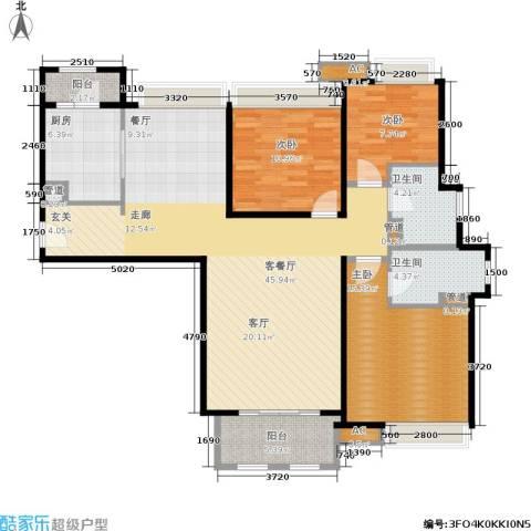 同润蓝美俊庭3室1厅2卫1厨120.00㎡户型图
