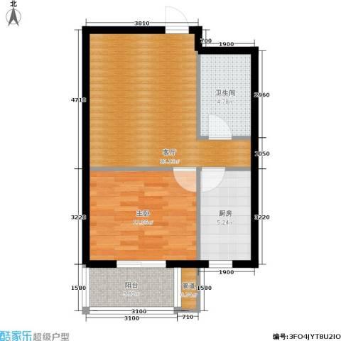 枫林花溪1室1厅1卫1厨50.00㎡户型图
