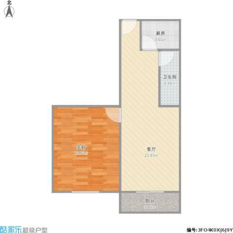 新庄新村1室1厅1卫1厨62.00㎡户型图