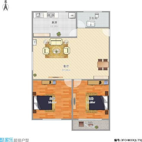 新莲岳里2室1厅1卫1厨117.00㎡户型图
