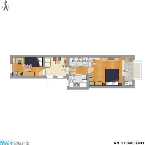 大柳树3号院1室1厅2卫1厨68.00㎡户型图