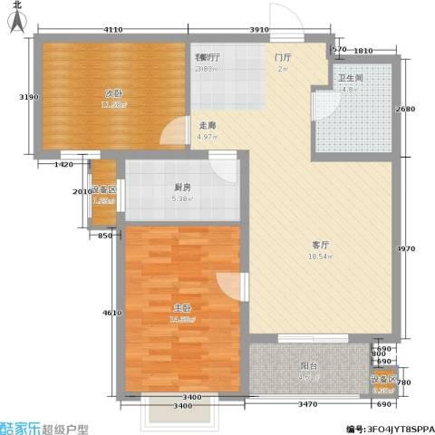 枫林花溪2室1厅1卫1厨92.00㎡户型图