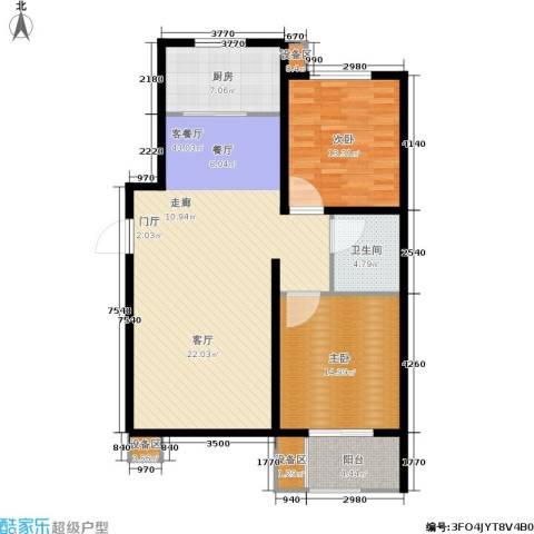 枫林花溪2室1厅1卫1厨101.00㎡户型图