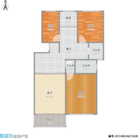 华阳佳园3室2厅2卫1厨112.00㎡户型图