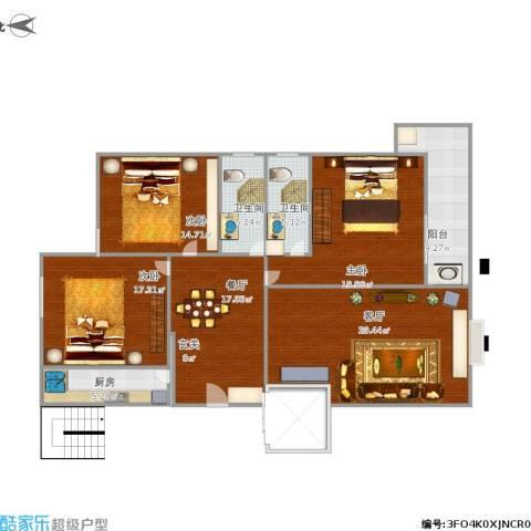 园丁小区3室2厅2卫1厨165.00㎡户型图