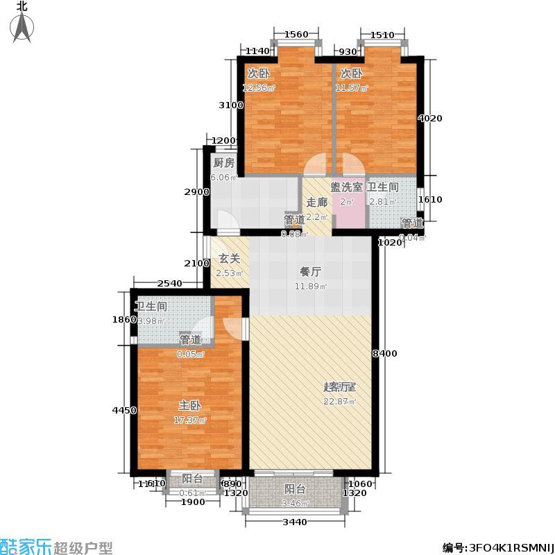 星河城(玺萌公馆)133.05㎡星河城20号楼J-户型3室2厅