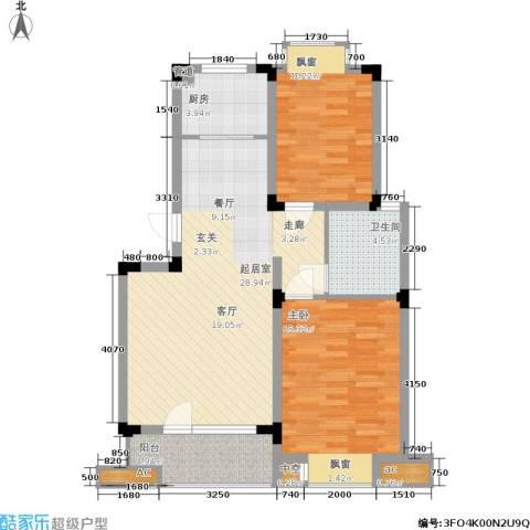 乾和福邸2室0厅1卫1厨80.00㎡户型图
