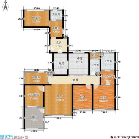 华润外滩九里2室2厅3卫1厨187.00㎡户型图