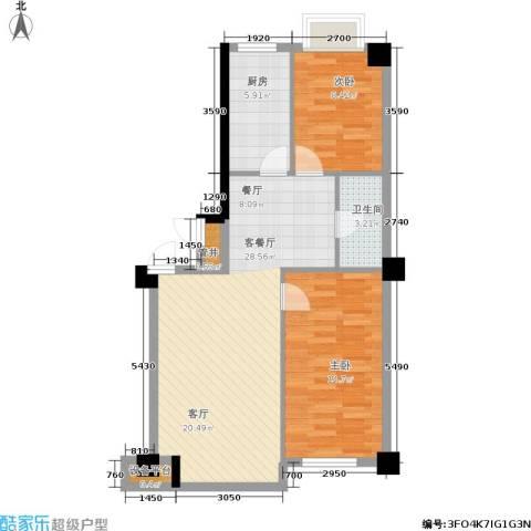 亿丰壹号公馆2室1厅1卫1厨86.00㎡户型图