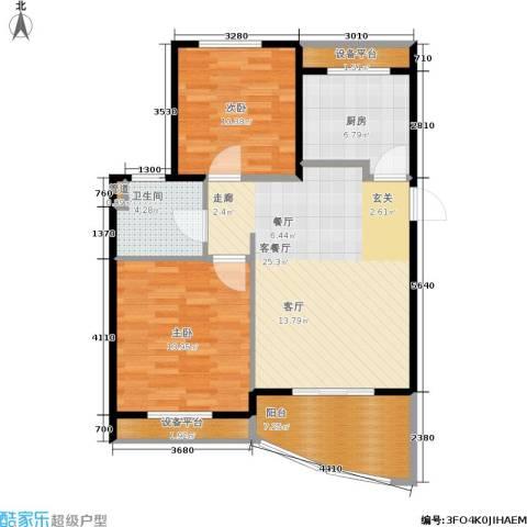 金铭文博水景2室1厅1卫1厨80.00㎡户型图