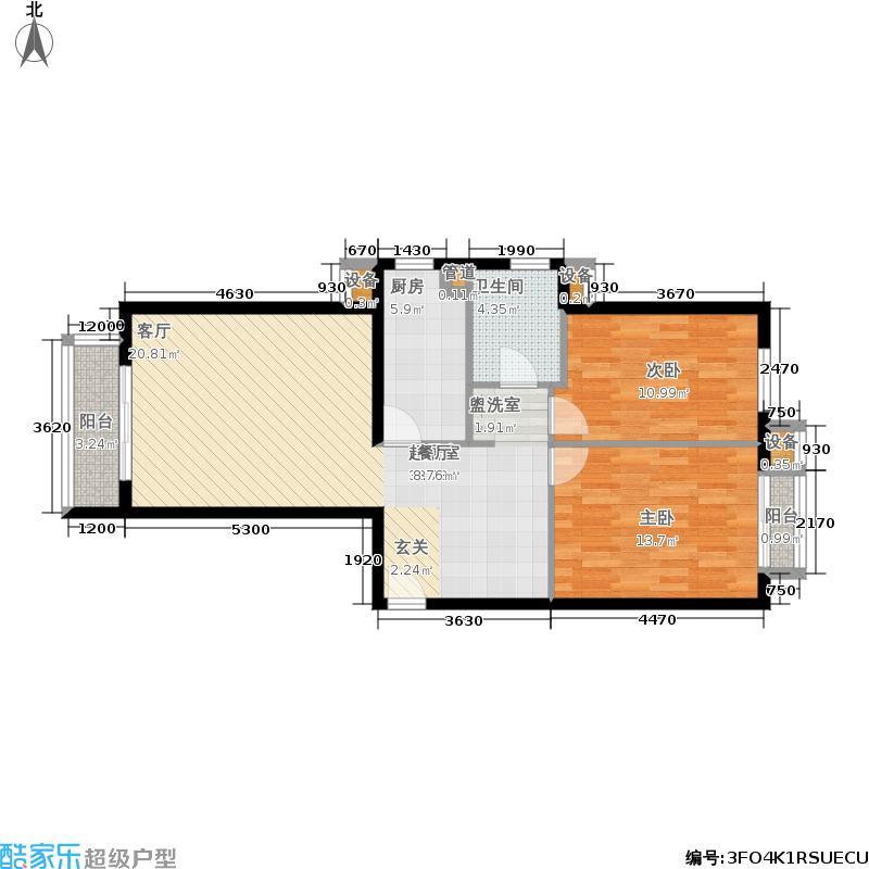 星河城(玺萌公馆)三期D-5(反)户型2室2厅