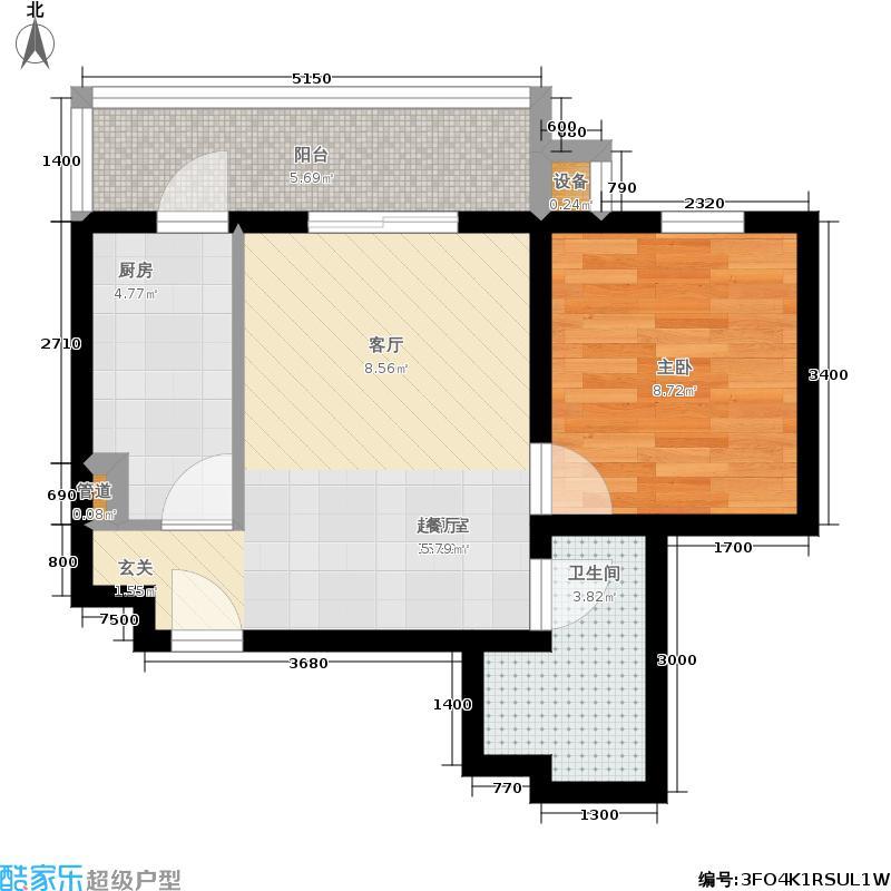 星河城(玺萌公馆)三期E-2(反)户型1室2厅