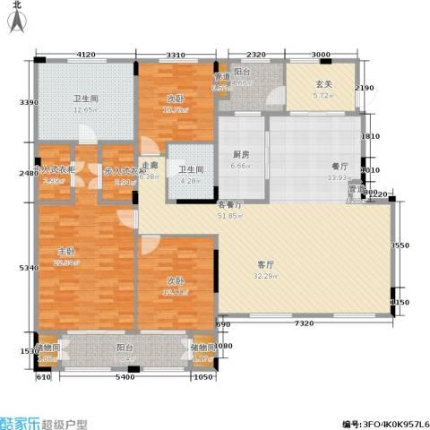 绿城玉兰花园・臻园3室1厅2卫1厨188.00㎡户型图