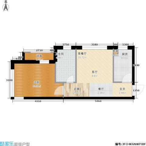天缘水晶恋城1室1厅1卫1厨51.00㎡户型图
