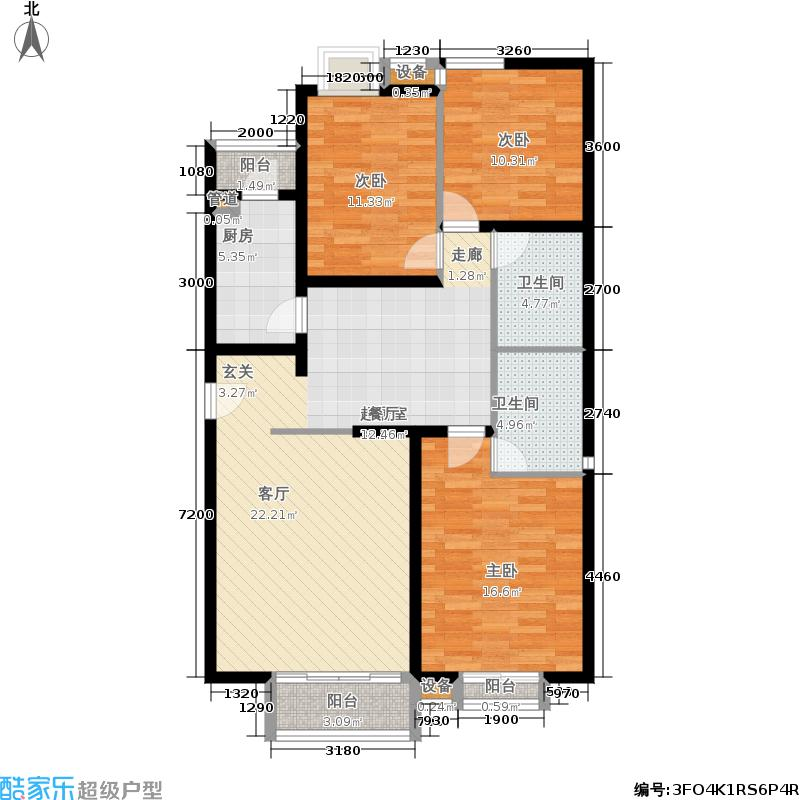星河城(玺萌公馆)三期J-2户型3室2厅