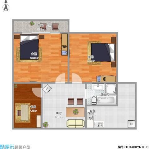 红星苑3室1厅1卫1厨93.00㎡户型图
