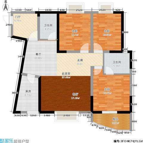 东电民福东方阁3室0厅2卫1厨142.00㎡户型图