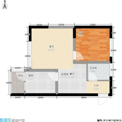 东电民福东方阁1室0厅1卫1厨60.00㎡户型图