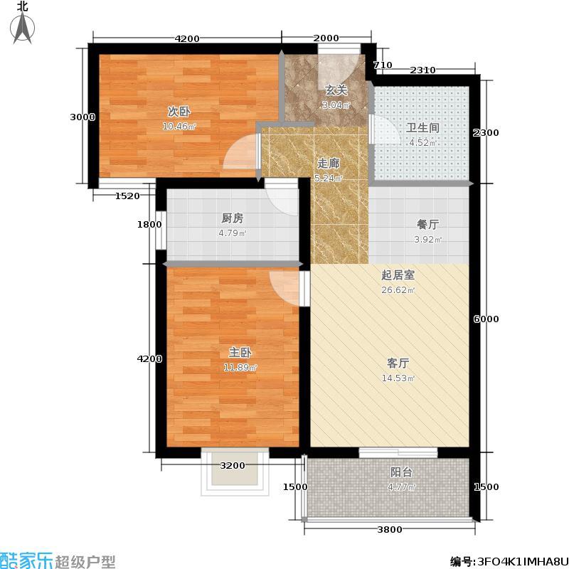 建投福美国际92.45㎡B区11#T4户型2室2厅