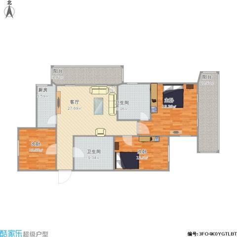 杰信花园3室1厅2卫1厨152.00㎡户型图