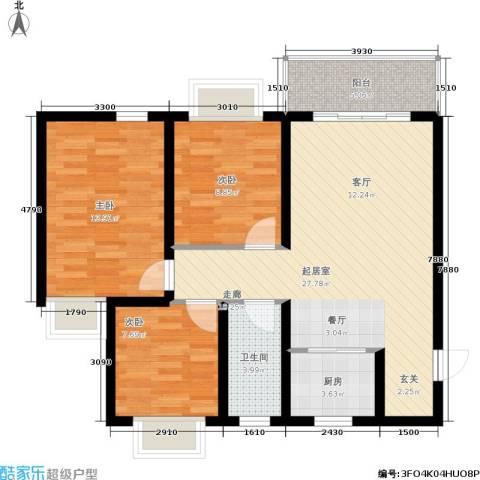 五指山·山水名城3室0厅1卫1厨92.00㎡户型图