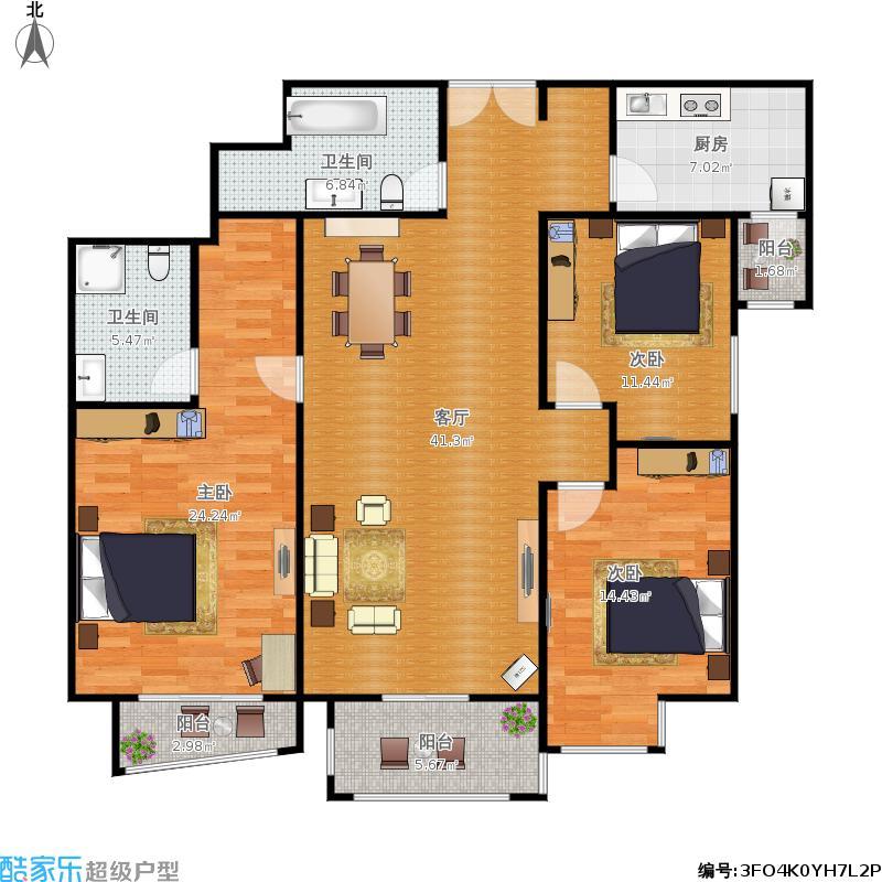 富力城A区3-007户型130米