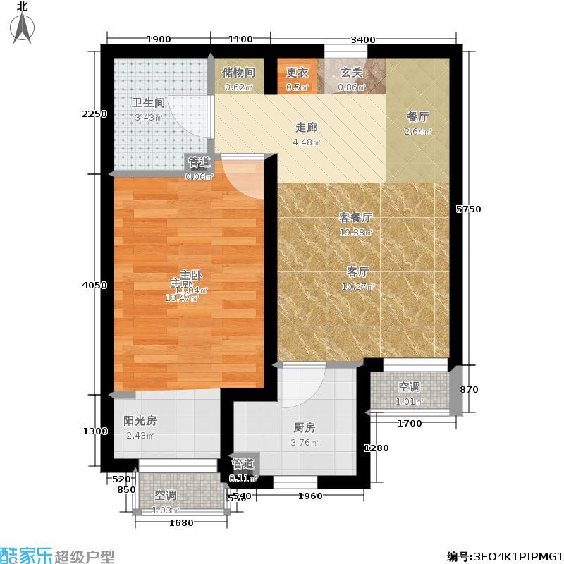 龙冠·冠华苑60.00㎡5-BG/5-BG反户型1室2厅