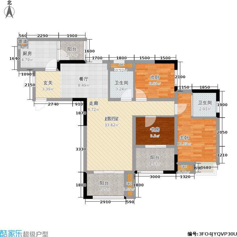 绿地城79.52㎡一期高层1-6号楼标准层户型