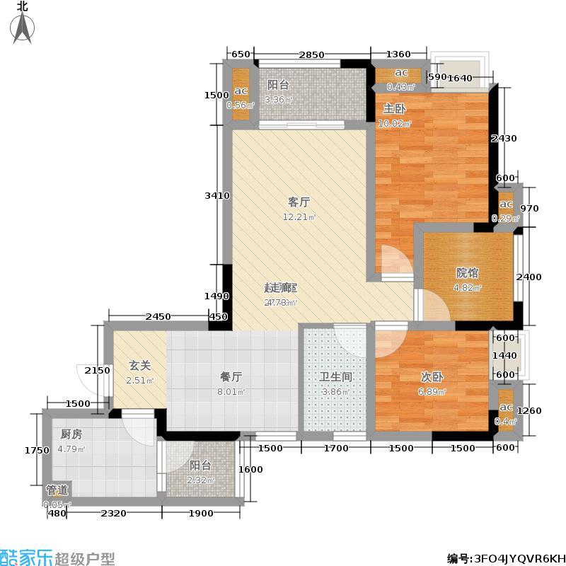 绿地城68.34㎡一期高层1-6号楼标准层C户型