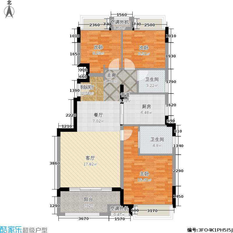 法兰西世家99.00㎡三居户型3室1厅