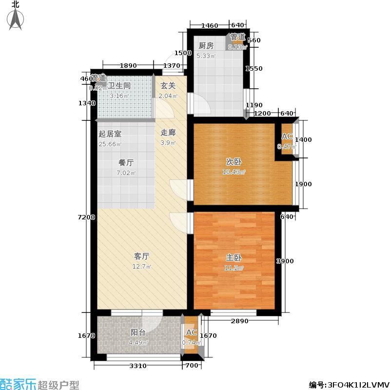香邑溪谷86.00㎡高层E2户型2室2厅