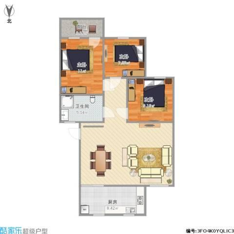 建兴小区3室1厅1卫1厨103.00㎡户型图