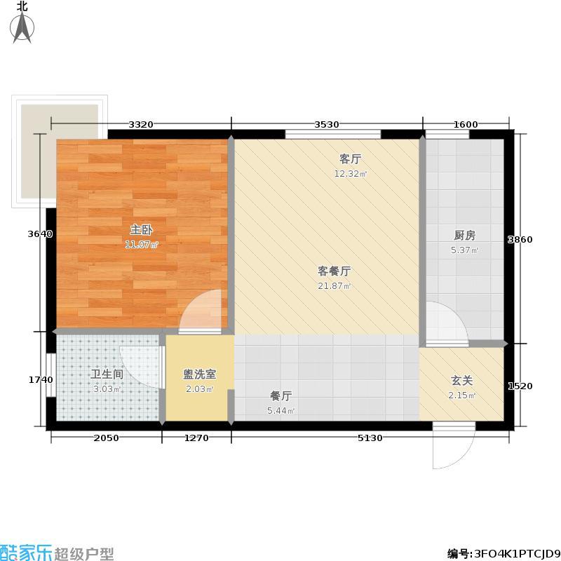 上林溪57.00㎡31号楼4单元06户型1室1厅