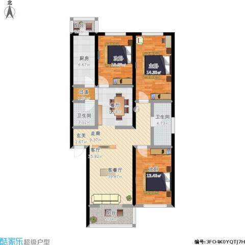 密西花园小区3室1厅2卫1厨138.00㎡户型图