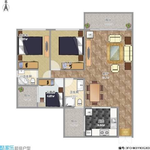 花山怡园2室1厅2卫1厨104.00㎡户型图