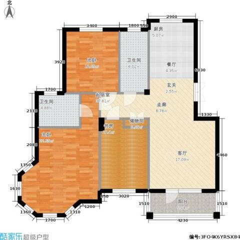 鲁能东方优山美地3室0厅2卫0厨128.00㎡户型图