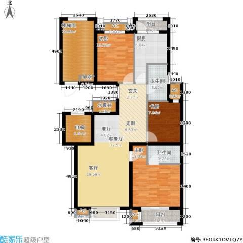 荣川沁园3室1厅2卫1厨124.00㎡户型图