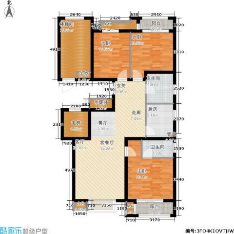 荣川沁园3室1厅2卫1厨126.00㎡户型图