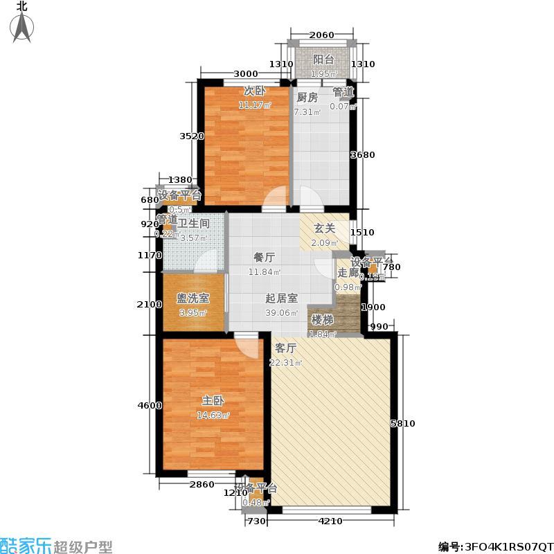 北京奥林匹克花园158.00㎡500号楼B1跃层首层平面图户型2室2厅