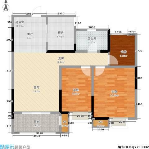城开新都雅苑3室0厅1卫1厨88.00㎡户型图